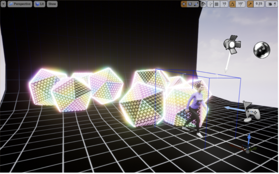 Icosahedron shapes with iridescent gradients and human female model displayed in Unreal Engine