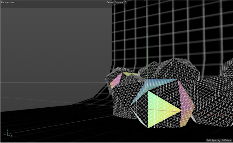 Icosahedron shapes with iridescent gradients displayed in Cinema 4D